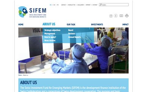 Screenshot of About Page sifem.ch - About us | SIFEM - Swiss Investment Fund for Emerging Markets - captured Oct. 1, 2018