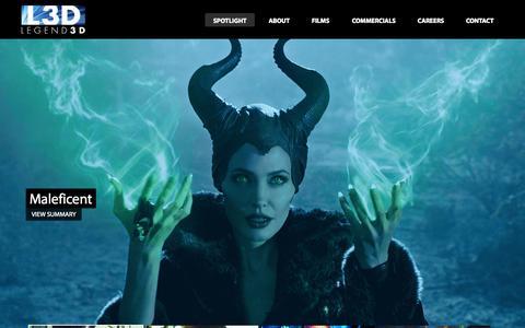 Screenshot of Home Page legend3d.com - Legend3D - captured Sept. 16, 2014