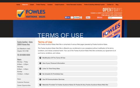 Screenshot of Terms Page fowles.com.au - Terms of Use - Carpet | Discount Carpet | Floating Floor | Timber Flooring | Cheap Carpet Melbourne - captured Sept. 19, 2014