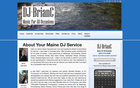 Screenshot of About Page djbrianc.us - All About Your Maine DJ Service - Honest, Ethical & Fair! - captured Sept. 30, 2014
