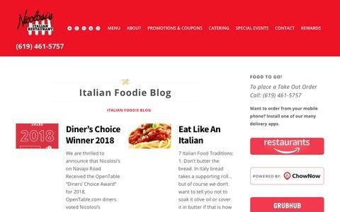 Screenshot of Blog nicolosis.com - Italian Foodie Blog - Nicolosi's Italian Restaurant & Catering San Diego & El Cajon, CA - captured May 2, 2019