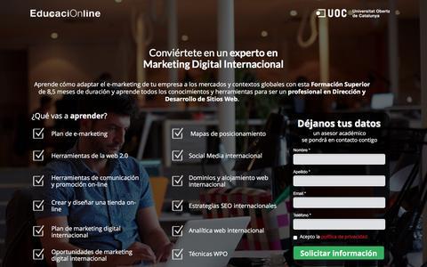 Screenshot of Landing Page educacionline.com - Curso de Marketing Digital Internacional Online | EducaciOnline - captured Oct. 20, 2016