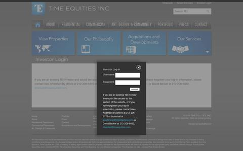 Screenshot of Home Page tei-investor.com - Time Equities Inc. - captured Sept. 10, 2015
