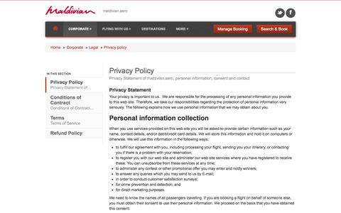 Screenshot of Privacy Page maldivian.aero - Privacy Policy - captured Sept. 19, 2014