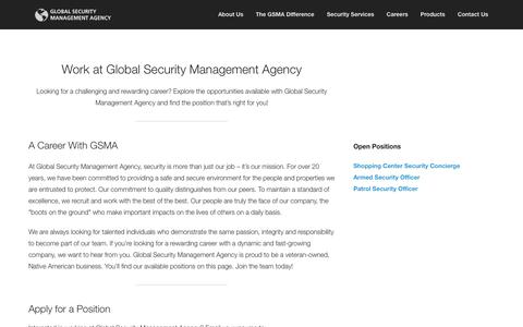 Screenshot of Jobs Page gsmasecurity.com - Global Security Management Agency - World Class Security Services - captured Nov. 2, 2014