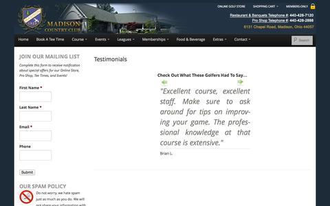 Screenshot of Testimonials Page madisoncountryclub.com - Testimonials - Madison Country Club - captured Sept. 30, 2014