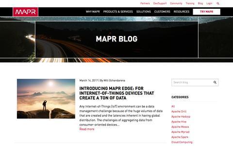 Screenshot of Blog mapr.com - Blog | MapR - captured March 16, 2017