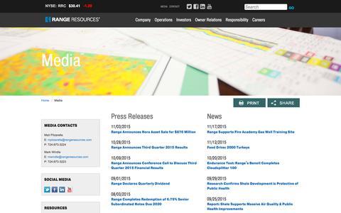 Screenshot of Press Page rangeresources.com - Range Resources - Media - captured Nov. 21, 2015