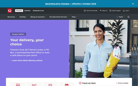 Screenshot of Home Page auspost.com.au - Personal, Business, Enterprise & Government solutions - Australia Post - captured Sept. 21, 2018