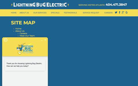 Screenshot of Site Map Page lightningbugelectric.com - Site Map | Electrician in Marietta - captured July 19, 2018