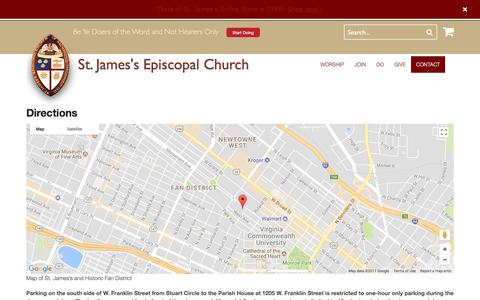 Screenshot of Maps & Directions Page doers.org - Directions | St. James's Episcopal Church - captured Oct. 24, 2017