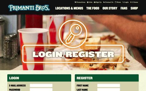 Screenshot of Login Page primantibros.com - Account Login & Registration - Primanti Bros. Restaurants - captured Sept. 19, 2014