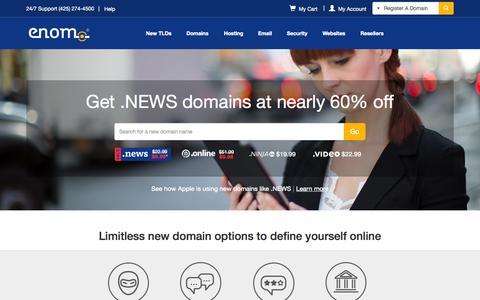 Screenshot of Home Page enom.com - eNom - domain name, web site hosting, email, registration - captured Oct. 1, 2015