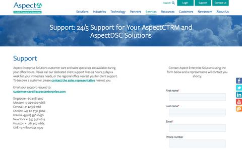 Screenshot of Support Page aspectenterprise.com - Aspect Enterprise Solutions - Customer Support 24 Hours, 5 Days a Week - captured Nov. 9, 2019