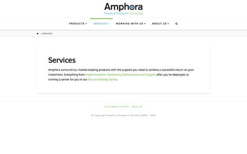 Screenshot of Services Page amphora-research.com - Services | Amphora Research Systems - captured Feb. 6, 2016