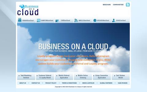 Screenshot of Home Page businessonacloud.com - Business on a Cloud - captured Sept. 30, 2014