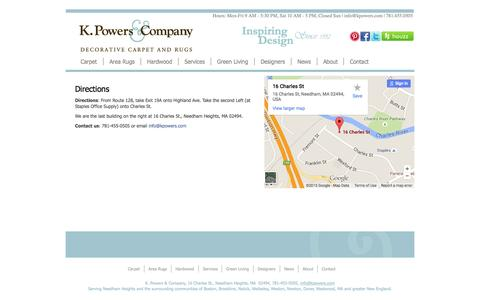 Screenshot of Maps & Directions Page kpowers.com - Directions | kPowers.com - captured Aug. 6, 2015
