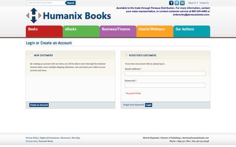 Screenshot of Login Page humanixbooks.com - Customer Login - captured May 24, 2017