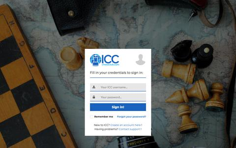 Screenshot of Login Page chessclub.com - ICC Sign in - captured March 14, 2019
