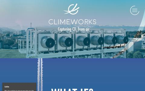 Screenshot of Home Page climeworks.com - Climeworks – Capturing CO2 from Air - captured July 13, 2018