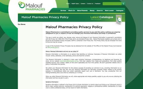 Screenshot of Privacy Page maloufpharmacies.com.au - Malouf Pharmacies Privacy Policy - captured July 27, 2018