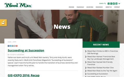 Screenshot of Press Page weedmanfranchise.com - Franchise News | Weed Man Lawn Care USA - captured Nov. 29, 2016