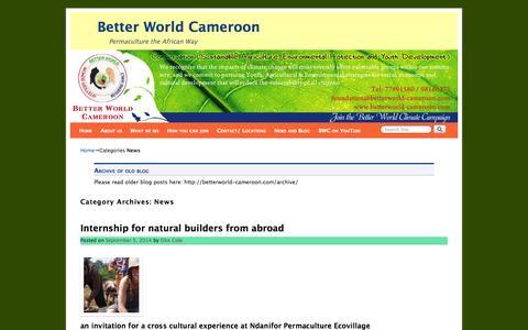 Screenshot of Press Page betterworld-cameroon.com - News Archives - Better World Cameroon - captured Sept. 30, 2014