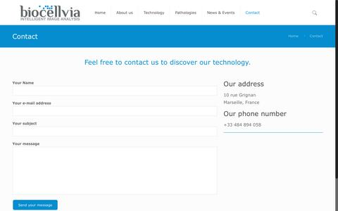 Screenshot of Contact Page Trial Page biocellvia.com - Contact - biocellvia - captured Aug. 2, 2018