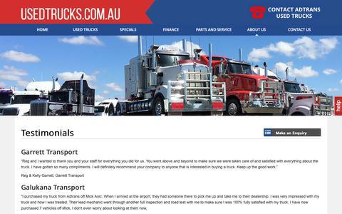Screenshot of Testimonials Page usedtrucks.com.au - Testimonials - Adtrans Used Trucks - captured Nov. 12, 2018