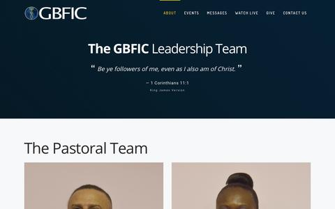 Screenshot of Team Page gbfic.org - Leadership – Glory Bible Fellowship Int'l Church - captured Sept. 29, 2018