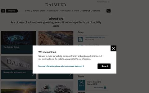 Screenshot of About Page daimler.com - About us   Daimler > Investors > About us - captured June 26, 2018