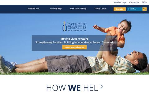 Screenshot of Home Page cc-nh.org - Catholic Charities New Hampshire - Moving Lives Forward - captured Feb. 1, 2018