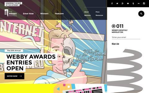 Screenshot of Home Page webbyawards.com - The Webby Awards - captured Oct. 2, 2015