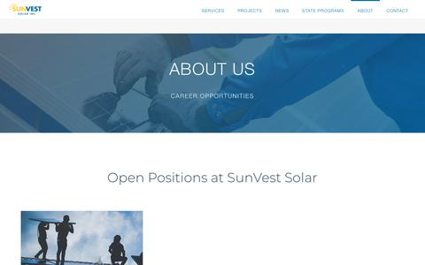 Screenshot of Jobs Page sunvest.com - Careers   SunVest Solar - captured Feb. 2, 2020