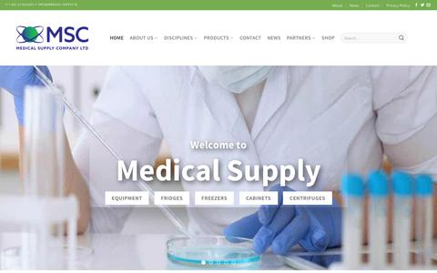 Screenshot of Home Page medical-supply.ie - Medical Supply Company - Home | Medical Supply Company, Reagents, Equipment, IT solutions, Pharma, Clinical Diagnostics, Life Science, Lab Inventory Management System, Healthcare, MSC - captured Oct. 17, 2018