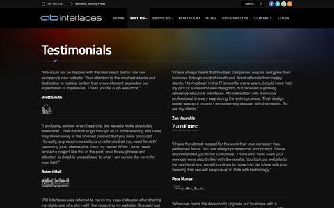 Screenshot of Testimonials Page abinterfaces.com - Web Site Design in Williamsburg Virginia VA 23185 - AB Interfaces - captured Oct. 4, 2014