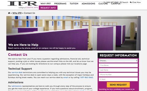 Screenshot of Contact Page ipr.edu - Contact Us | IPR - captured Nov. 19, 2016