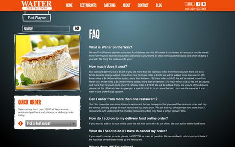 Screenshot of FAQ Page waiterontheway.biz - FAQ - Waiter on the Way - captured Sept. 20, 2018