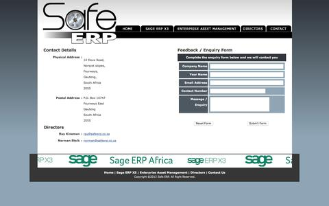 Screenshot of Contact Page safeerp.co.za - Safe ERP - captured Feb. 2, 2016
