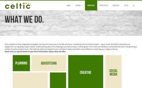 Screenshot of Services Page celticinc.com - Celtic Services - captured Oct. 27, 2014