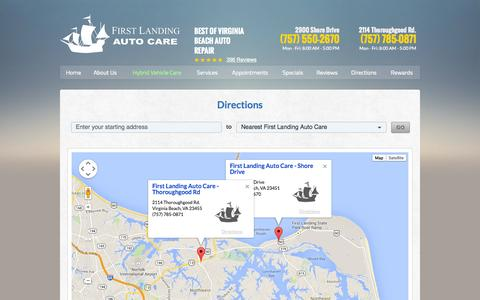 Screenshot of Maps & Directions Page firstlandingautocare.com - Directions | First Landing Auto Care - captured Sept. 30, 2014