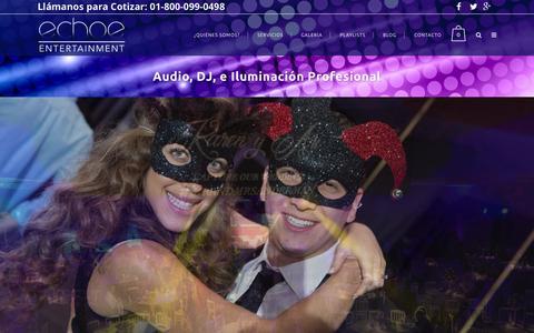 Screenshot of Home Page echoe.mx - Echoe Entertainment | DJ para Fiestas, Bodas y Eventos. - captured Sept. 22, 2015