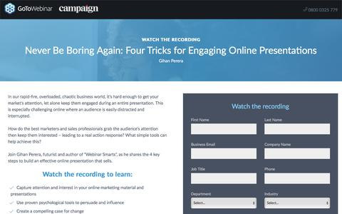 Screenshot of Landing Page gotomeeting.com - Never Be Boring Again: Four Tricks for Engaging Online Presentations - captured May 6, 2018