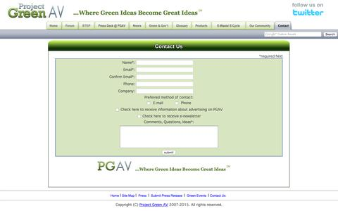 Screenshot of Contact Page projectgreenav.com - Project Green AV - Contact Us - captured Dec. 12, 2015
