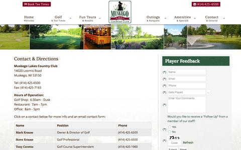 Screenshot of Contact Page Maps & Directions Page muskegolakes.com - Muskego Lakes Country Club | Muskego, WI | Public Golf Course - Contact & Directions - captured Feb. 26, 2016