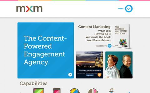 Screenshot of Home Page Locations Page meredithxceleratedmarketing.com - MXM: The Content-Powered Engagement Agency | Home - captured Sept. 25, 2014