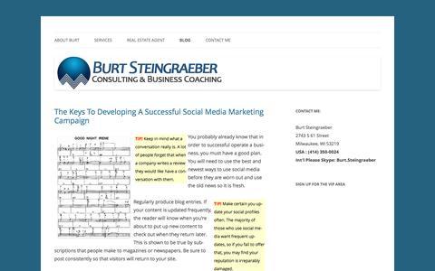 Screenshot of Blog burtsteingraeber.com - Branding Milwaukee | Burt Steingraeber Branding Consultant - captured Nov. 23, 2016