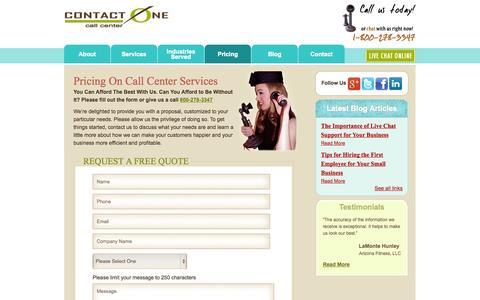 Screenshot of Pricing Page wetakecalls.com - Call Center Pricing, Call Center Quotes, Tucson Call Centers - captured Oct. 3, 2014