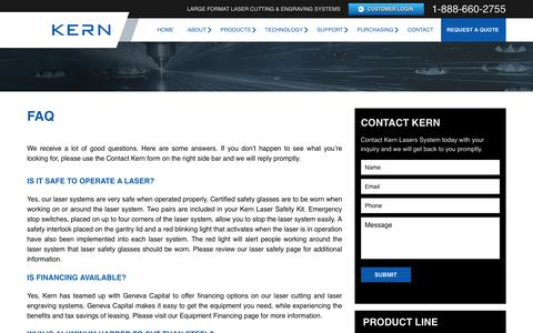 Screenshot of FAQ Page kernlasers.com - Frequently Asked Questions | Kern Laser Systems - captured Nov. 27, 2016