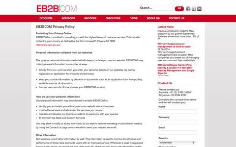 Screenshot of Privacy Page eb2bcom.com - Privacy Policy - EB2BCOM - captured Sept. 26, 2014